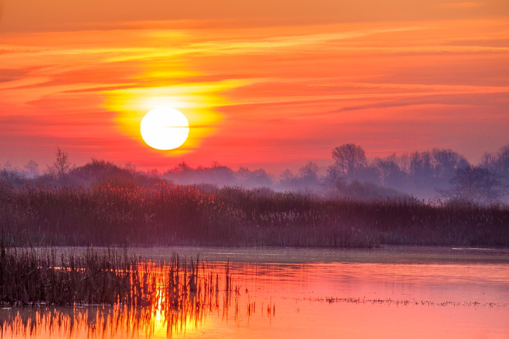 Red-Orange-Purple colors during sunrise